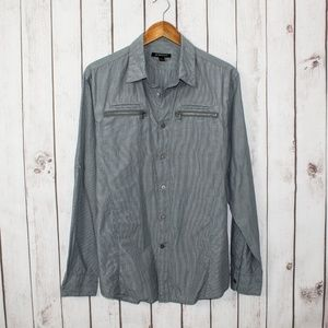 John Varvatos Button Front Shirt Zipper Pockets